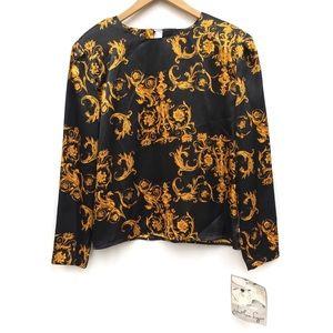 Vintage 90s Black Gold Baroque Print Satin Blouse